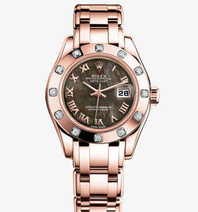 Replica Rolex Lady - Datejust Pearlmaster Watch: 18 ct Everose gold - M80315 - 0023